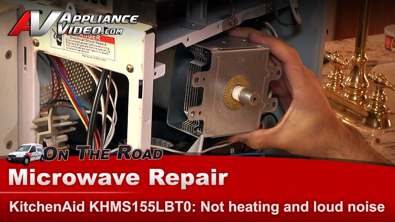 kitchenaid whirlpool microwave will not heat making loud noise khms155lbt0