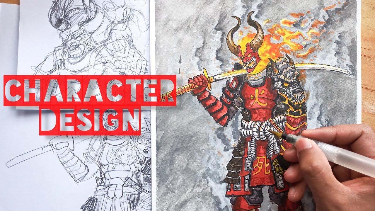 DRAWING AN ORIGINAL CHARACTER – AKUMA SAMURAI using watercolour. | Tất tần tật các nội dung liên quan samurai drawing chính xác nhất