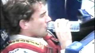 Ayrton Senna drinking before last race