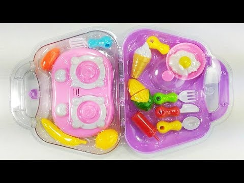 Play with Suitcase Kitchen Toy Set ! Cooking Food Kitchen Oven Toys -  Kitchen Set for Kids