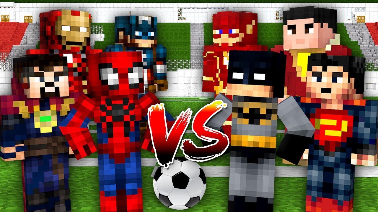 Monster School: SuperHero Marvel vs DC Battle FootBall Challenge - Minecraft Animation