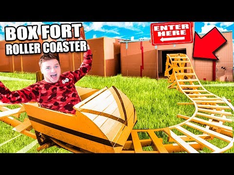 Box Fort ROLLER COASTER & ARCADE  24 Hour Box Fort City Challenge Day 3
