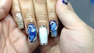 How to coffin nail shape with encapsulated roses