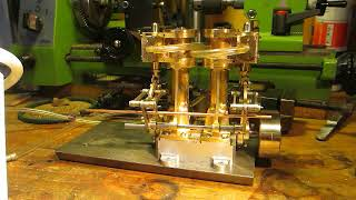 first air test of a small vertical twin cylinder steam engine