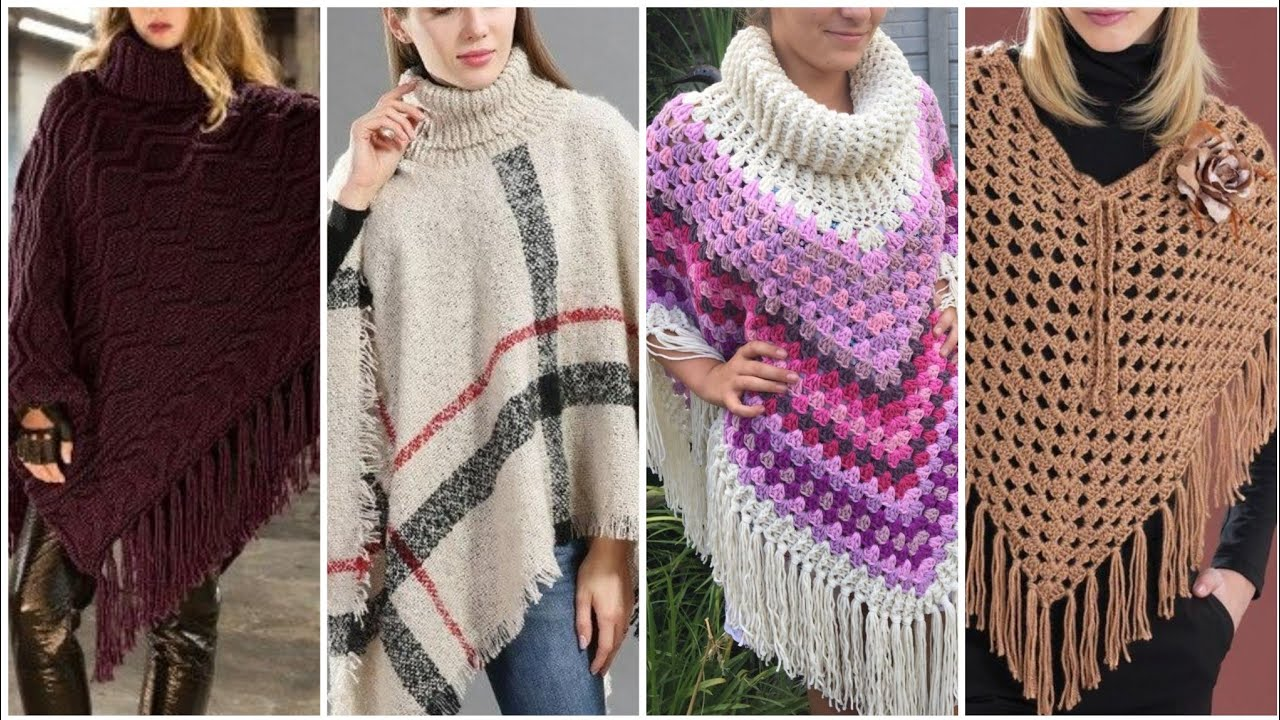 [VIDEO] - 25 Casual Batwaing Fringed plain turtle neck poncho / women cute winter poncho outfits 1