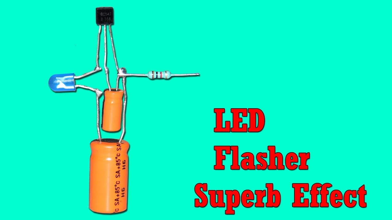 Super Effect Led Flasher Circuit Using Only One Transistor Youtube Very Simple Flashing With Sound Electronic Projects Circuits