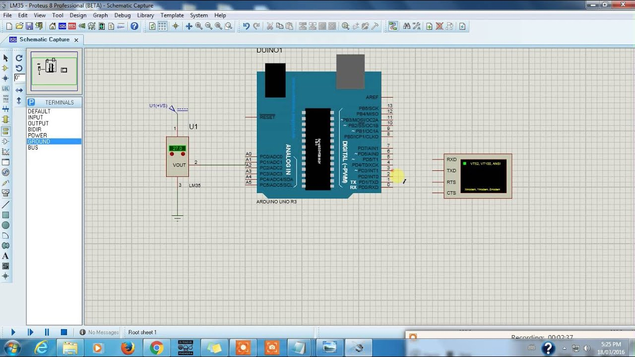 Lm35 Arduino Proteus Simulation Temperature Sensor To