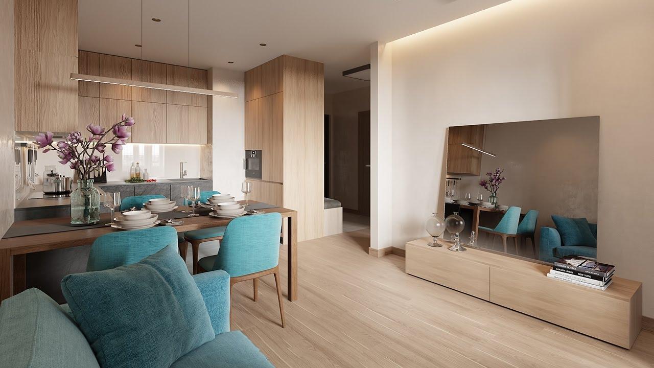 Интерьер однокомнатной квартиры в современном стиле, ЖК «Царская столица», 45 кв.м.