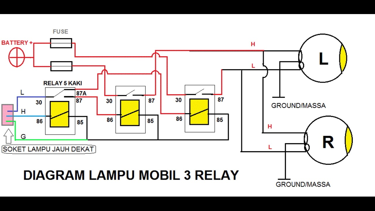 LAMPU MOBIL 3 RELAY  YouTube