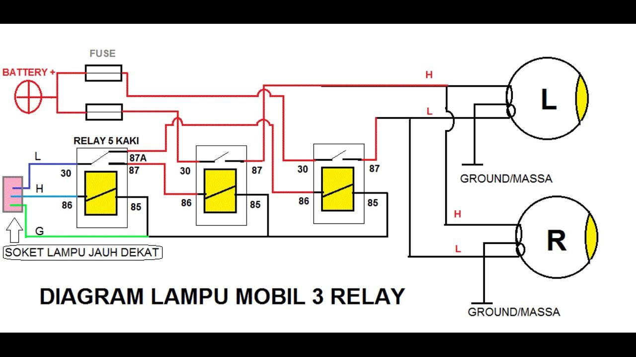 LAMPU MOBIL 3 RELAY  YouTube