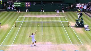 Federer hits 5 aces in a row against Djokovic Wimbledon 2014 Final