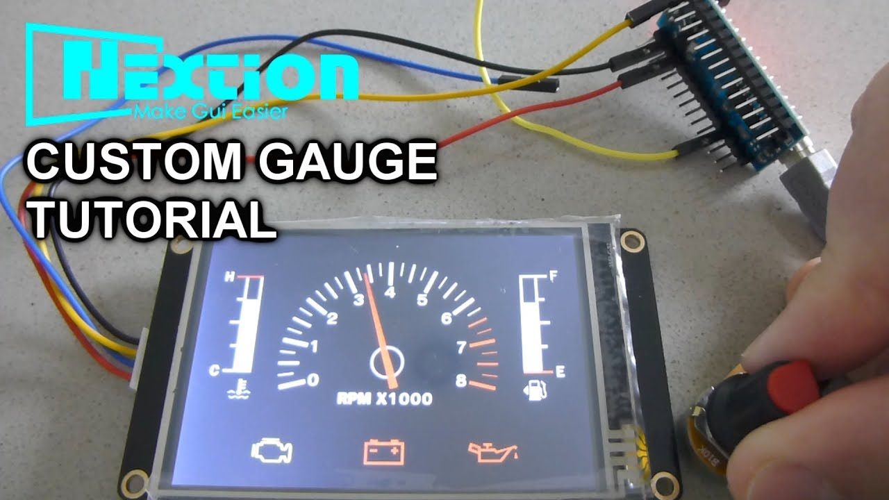 Nextion+Arduino Tutorial #4 Custom Gauge And Play Video