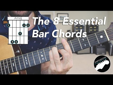 The 8 Essential Bar Chord Shapes   Easy Beginner Guitar Lesson