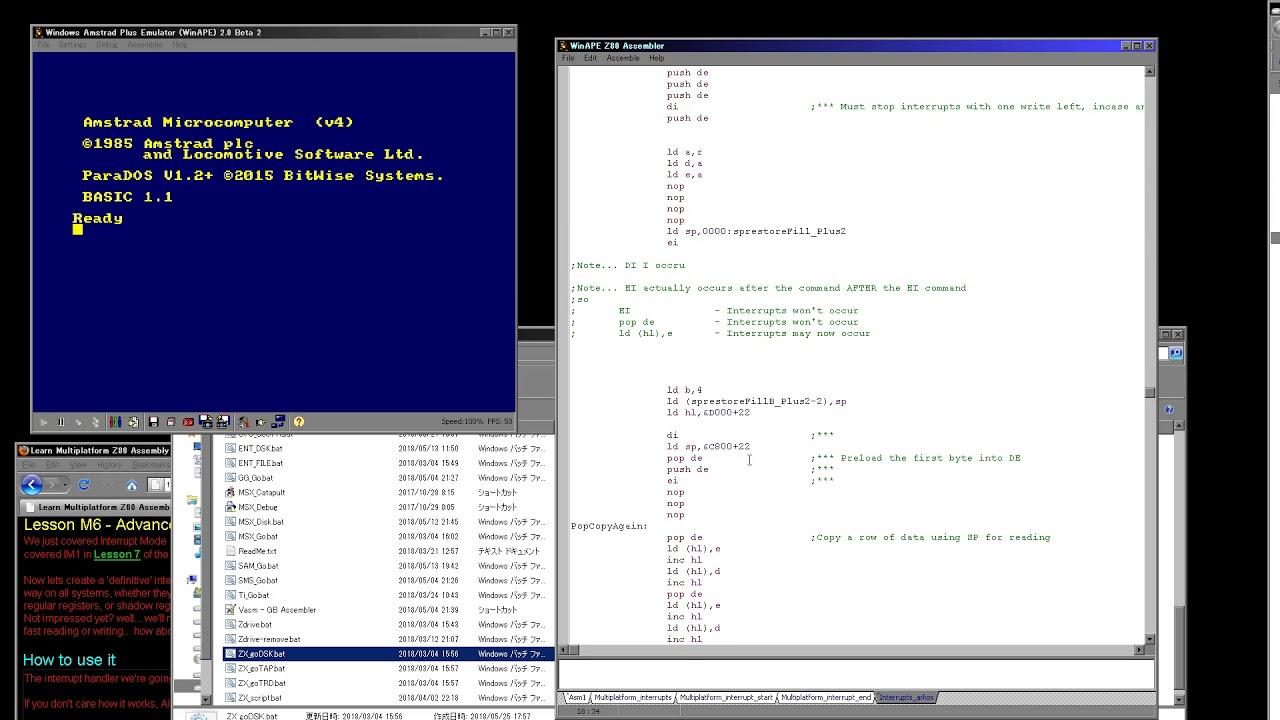 Multiplatform Z80 ASM development videos    with vampires!