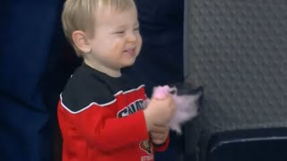 Young Hockey Fan Has Fun at Senators Game