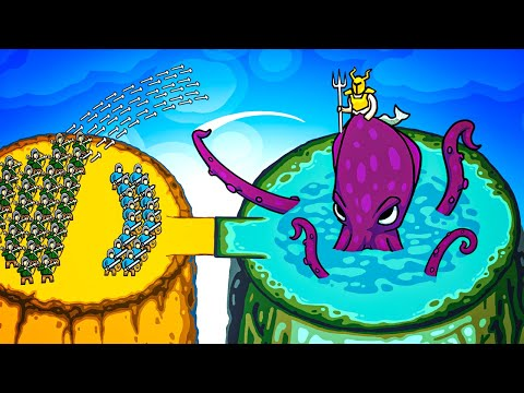 Giant ARMY vs Kraken Lord Boss Fight Invasion Army in Circle Empires Rivals Multiplayer Gameplay! |