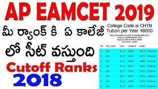 AP EAMCET 2019 Possible Colleges List For Your rank  AP EAMCET 2019 Cutoff Ranks