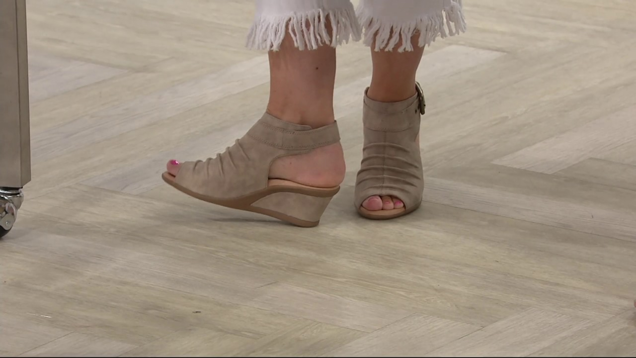 c12a1536c37 Earth Leather Ruched Peep-toe Wedges - Adina on QVC - YouTube