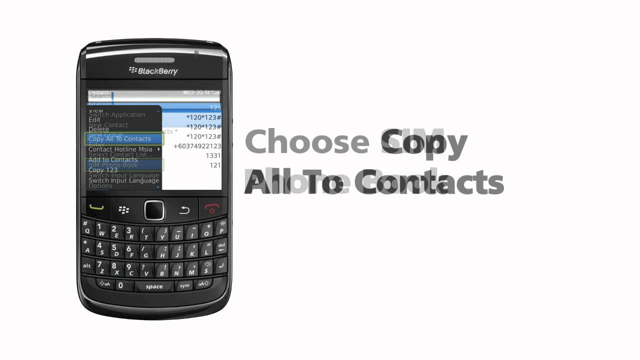 BlackBerry Bold 9780 import SIM contacts