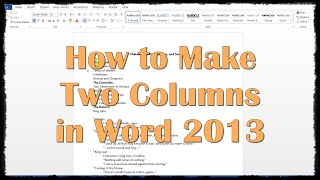 How to Make Two Columns in Word 2013