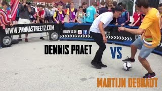 Pro player Dennis Praet challenged Martijn Debbaut for a panna game