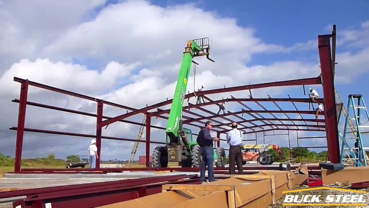 Erecting 50 39 x 100 39 metal building youtube for 50x100 shop house