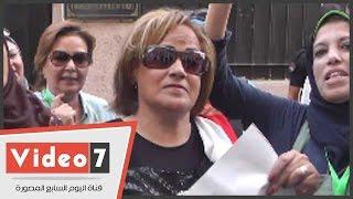 بالفيديو.. هوانم الوفد أمام السفارة التركية: