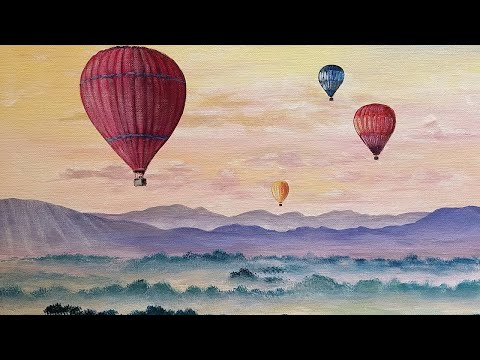 Hot Air Balloons Step by Step Acrylic Painting Tutorial LIVE Easy Landscape with Clouds #angelooney
