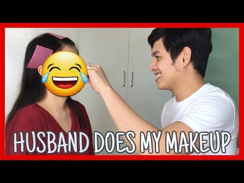 Husband Does My Makeup Challenge | HILARIOUS! | Just Sherine thumbnail