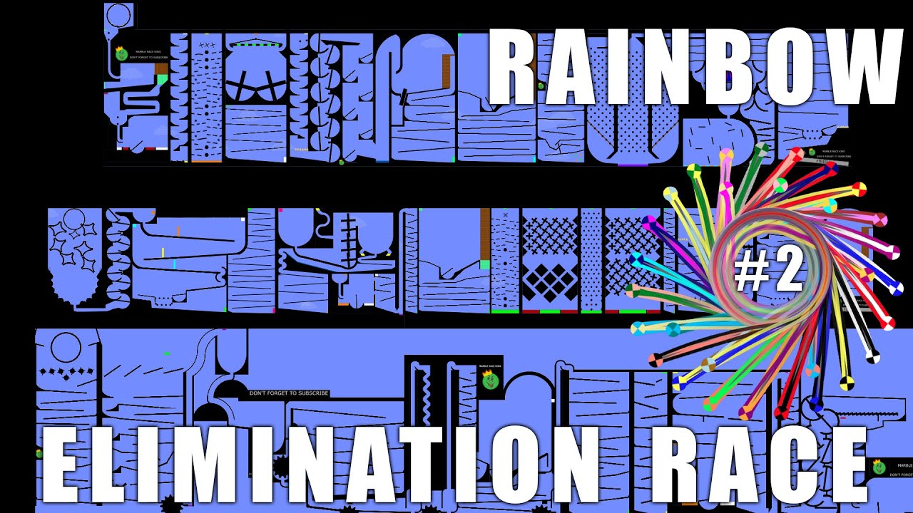 Amazing Rainbow Elimination Marble Race With Colors EP2 in Algodoo \ Marble Race King