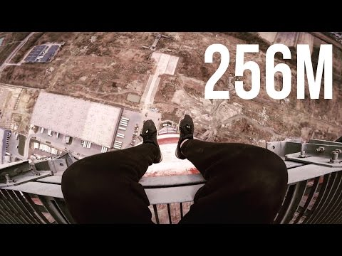 Climbing abandoned Chimney in Poland 256m (840ft)
