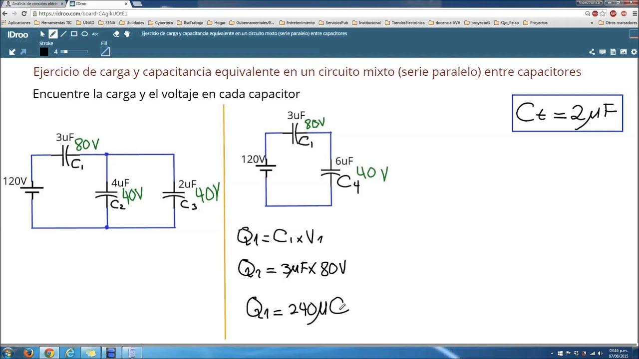 Circuito Mixto : Carga y capacitancia equivalente en un circuito mixto