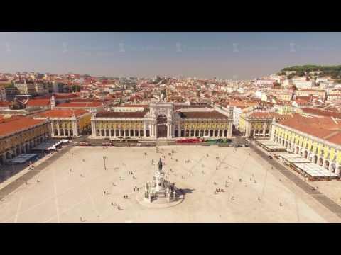 Commerce Square Praca de comercio Lisbon aerial view, 2 september 2016