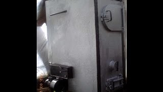 Самодельный пиролизный котел теплогенератор(Твердотопливный пиролизный теплогенератор для теплицы, дачи, гаража. Мощность ~30 КВт. Время горения при..., 2012-11-12T07:09:46.000Z)