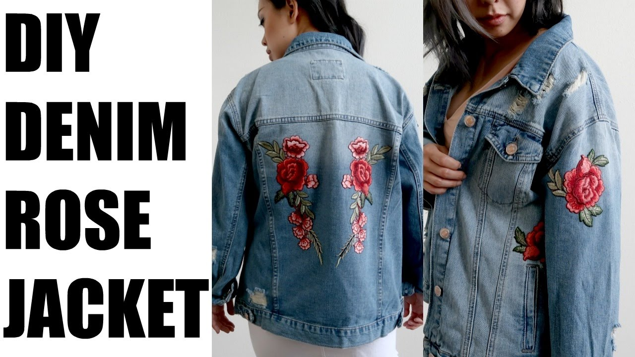diy denim jacket rose patches | more serein - youtube