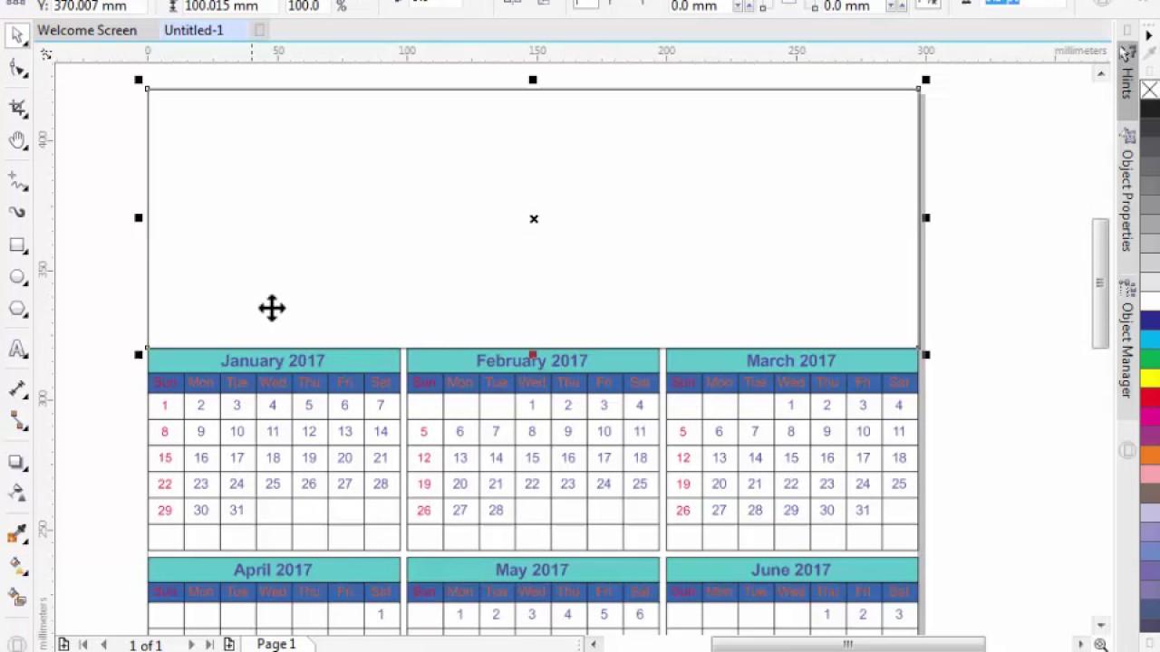 corel naptár How To Create Or Design A Calendar In CorelDraw X8/X7/X6/X5   Free  corel naptár