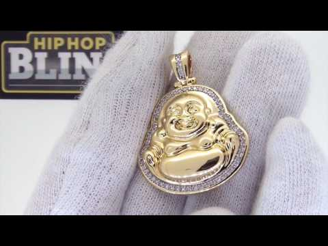 Gold Buddha Medallion | CZ Micro Pave | Buddhist Jewelry