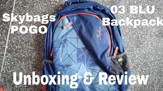 Unboxing & Review of Skybags POGO 03 BLU Backpack 32 L