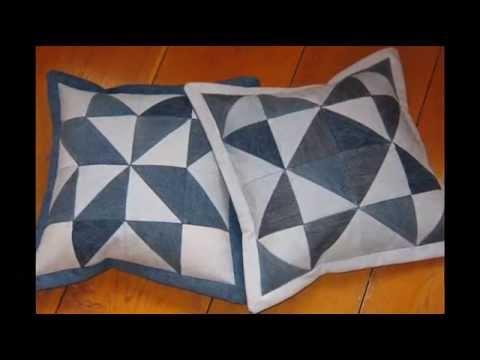 видео: Лоскутное шитье.  Красивые подушки из старых джинсов.