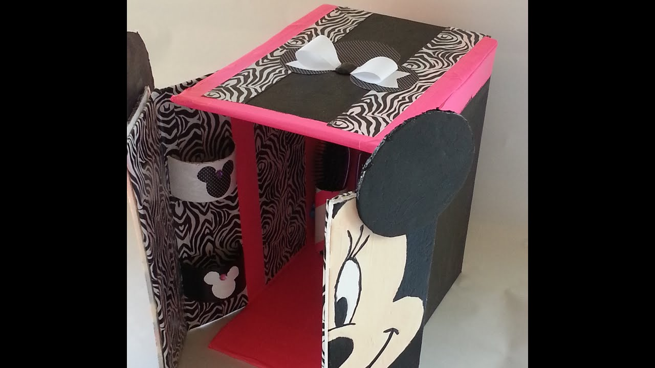DIY} Minnie Mouse Doll House #Repurpose #Savetheenvironment - YouTube