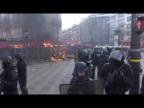 Acte XVIII : Saccage et incendie du Fouquet's sur les Champs Elysées. Paris/France - 16 Mars 2019