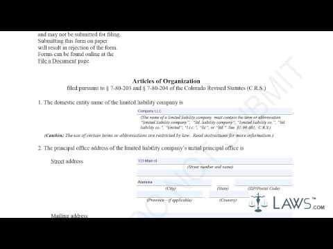 Articles of Organization LLC Sample