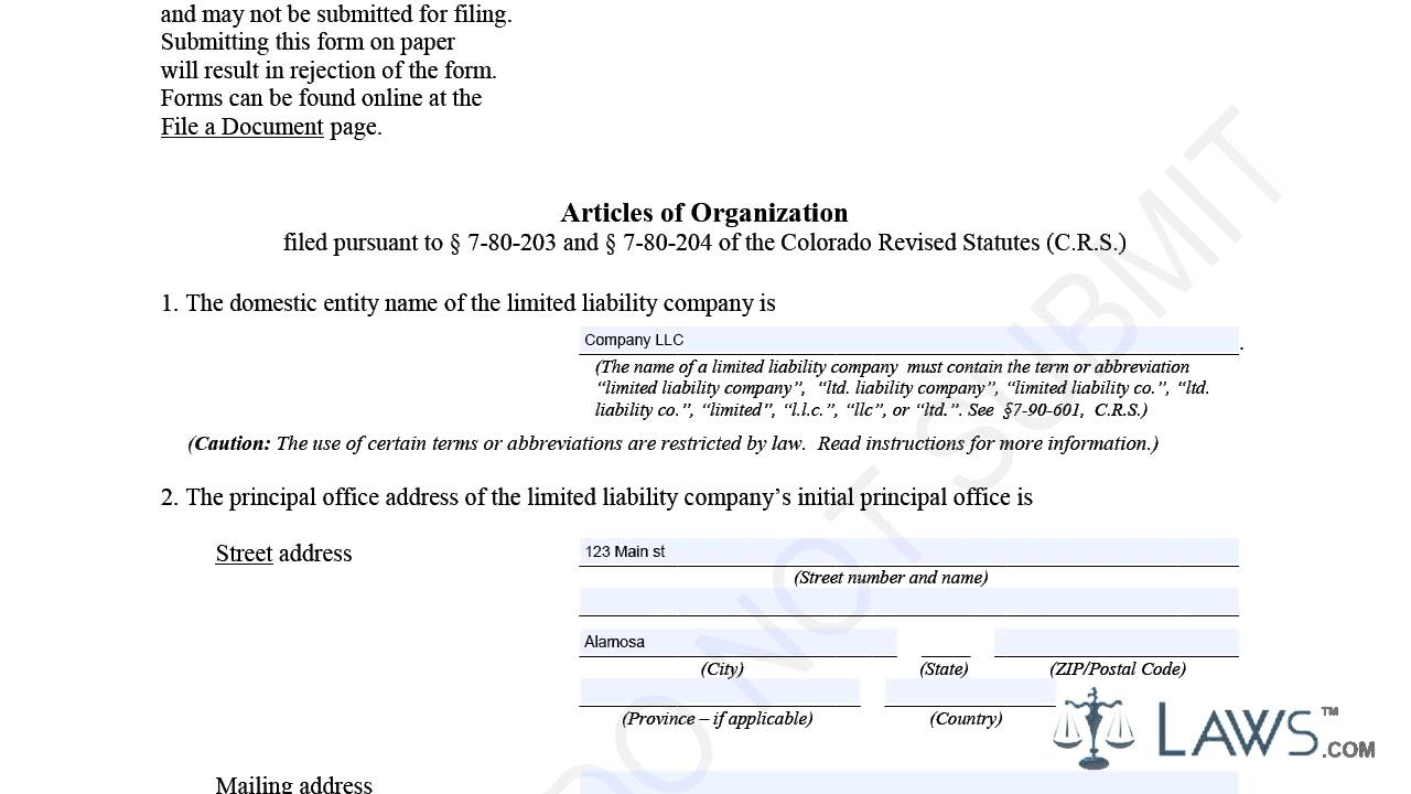 Articles of Organization LLC Sample - YouTube