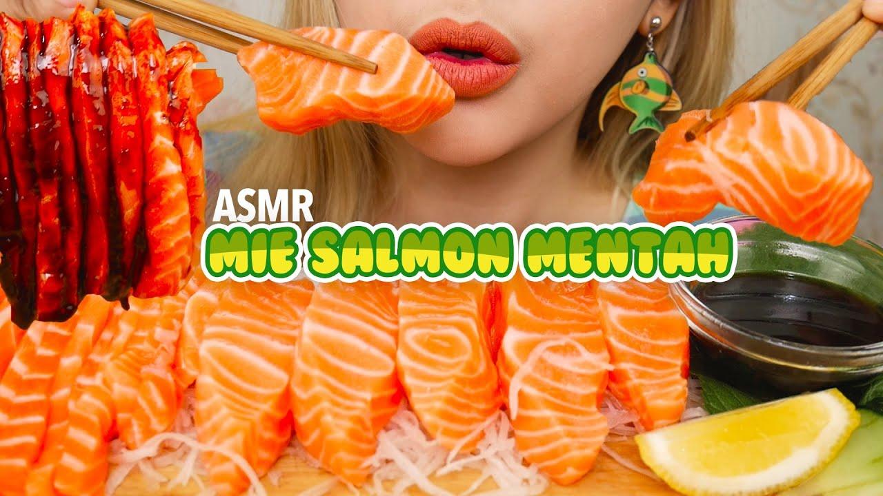 ASMR MIE SALMON MENTAH SAUS SAMYANG | ASMR Indonesia