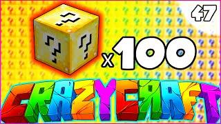 Minecraft CRAZY CRAFT 3.0 SMP - '100 LUCKY BLOCK OPENING' - Episode 46