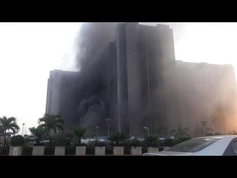 Central Bank Of Nigeria Head Office In Abuja Currently On Fire