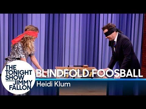 Blindfold Foosball with Heidi Klum