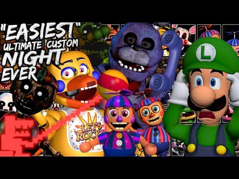 ULTIMATE CUSTOM NIGHT GONE EASY WITH THIS TRICK! [FNAF FIVE NIGHTS AT FREDDY'S UCN 50/20 Attempts] thumbnail