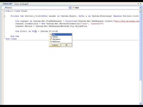 26  VB NET Tutorial 26   FTP Upload Visual Basic 20082010