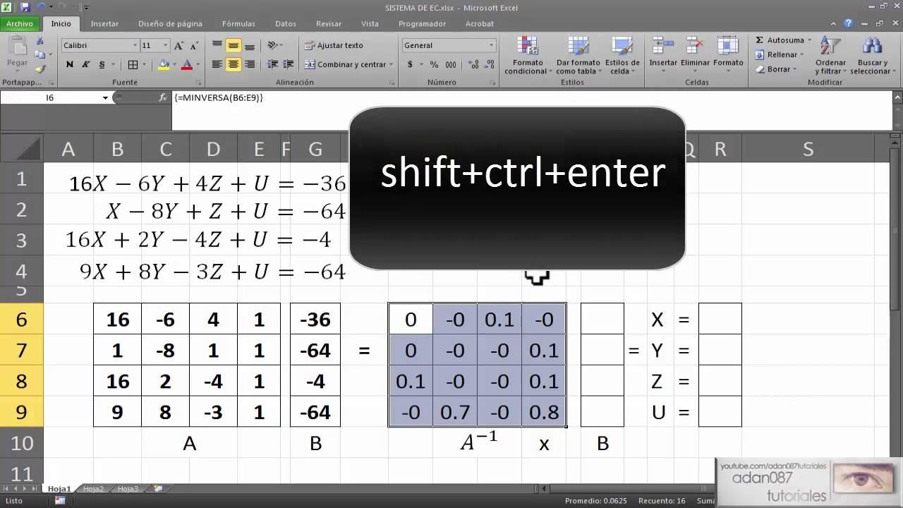 Excel solucionar sistemas de ecuaciones lineales - YouTube